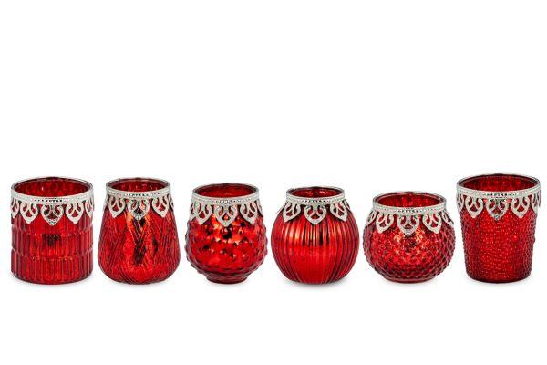 Teelichthalter rot Perlrand 6-tlg.