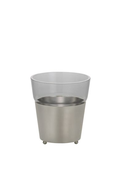 Vase / Übertopf glatt poliert mit Glaseinsatz