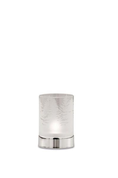 Teelichthalter Tannenbäume, klares Glas