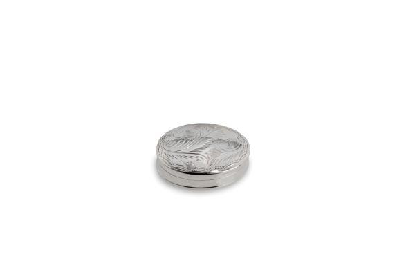Pillendose oval graviert - Echt Silber