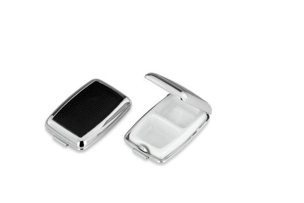Pillendose 2-geteilt rechteckig schwarzes Kunstleder