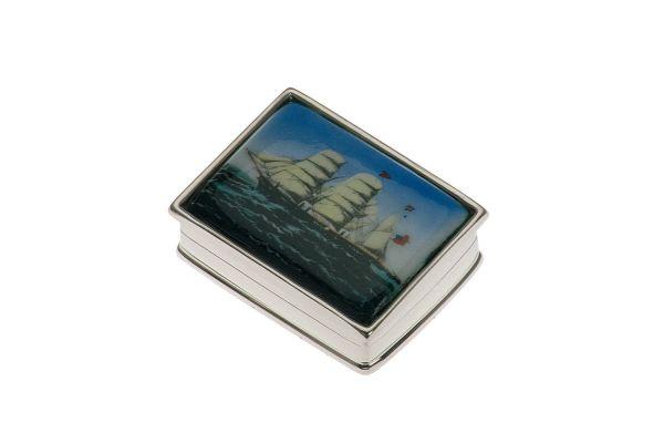 Pillendose rechteckig/Schiff - Echt Silber