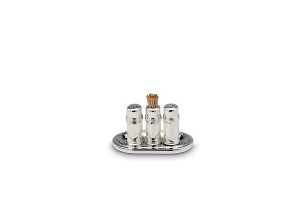 Streuerpaar und Zahnstocherbehälter auf Tablett, 4-tlg.,