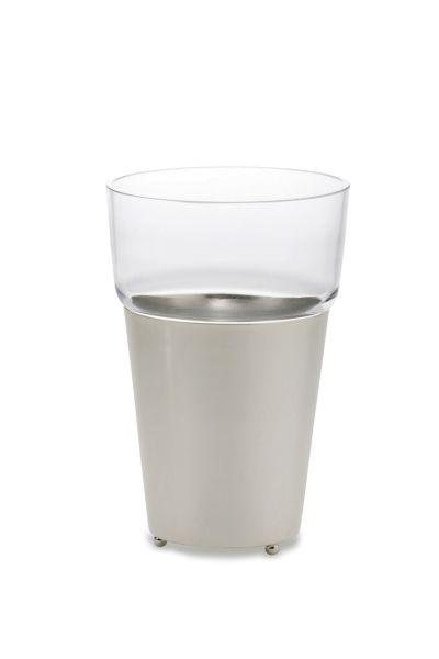 Vase/Übertopf glatt poliert mit Glaseinsatz