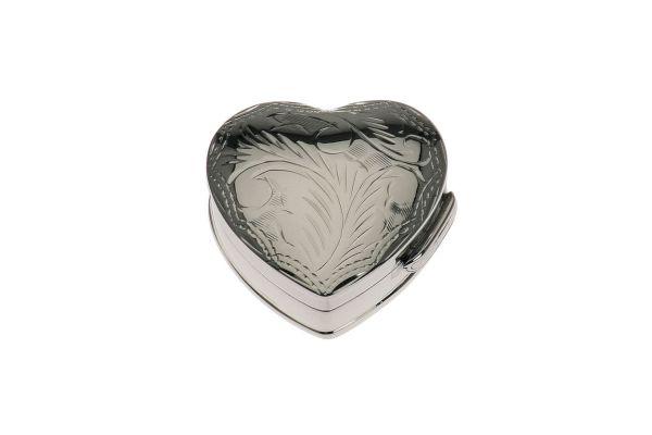 Pillendose Herz / graviert - Echt Silber