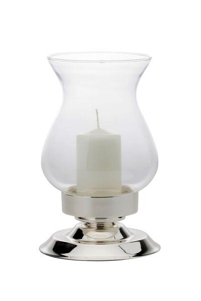 Windlicht / Kerzenhalter mit bauchigem Glas, glatt poliert