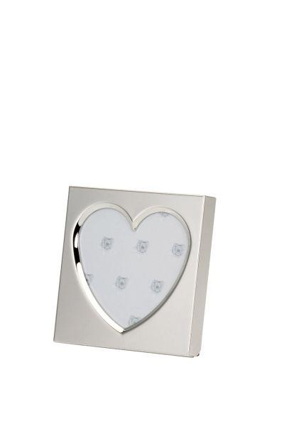 Fotorahmen quadratisch Herz-Ausschnitt glatt poliert 10x10