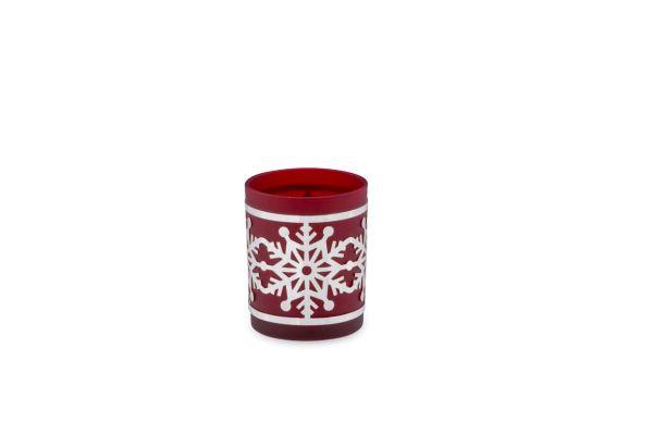 Teelichthalter Schneeflocke rotes Glas