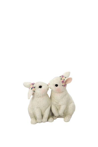 Hasen-Paar küssend, beige
