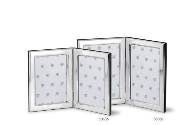 Doppelrahmen mit Holzrücken 9x13 - Echt Silber
