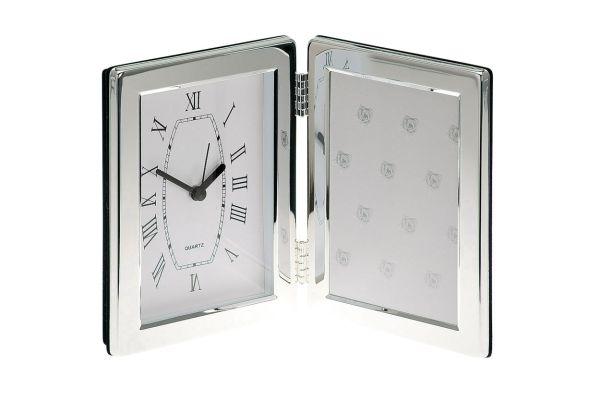 Fotorahmen mit Uhr abgerundet glatt poliert 9x13