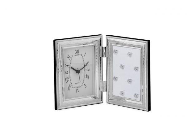 Fotorahmen mit Uhr breit gehämmert 9x13