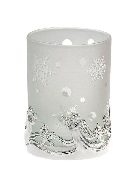 Teelichthalter Engel weißes Glas