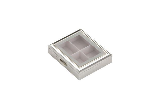 Pillendose 4-geteilt rechteckig mit Fenster