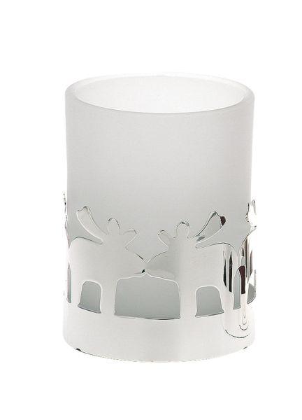 Teelichthalter Rentier weißes Glas
