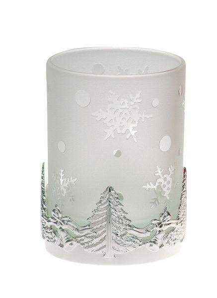Teelichthalter Tannenbaum weißes Glas