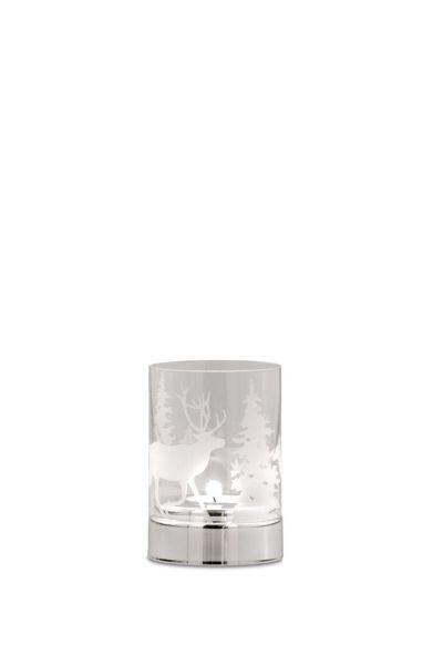 Teelichthalter Tannenbaum/Rentier, klares Glas