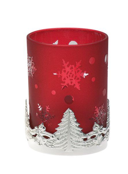 Teelichthalter Tannenbaum rotes Glas
