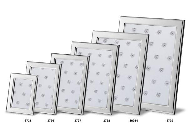 Rahmen rechteckig flach glatt poliert - Echt Silber