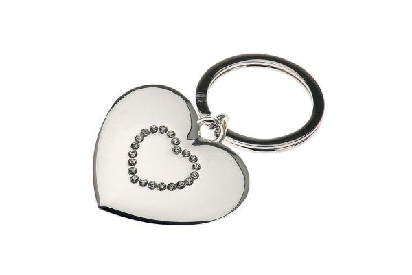 Schlüsselanhänger Herz mit Strasssteinen