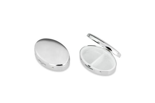 Pillendose 2-geteilt oval glatt poliert