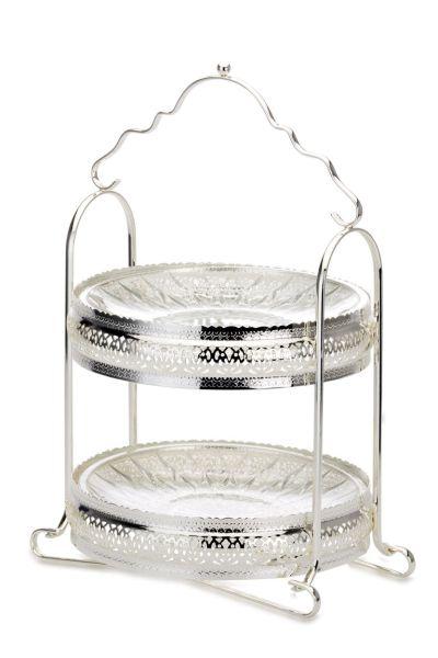 Etagere 2-stöckig mit zwei Glasteller