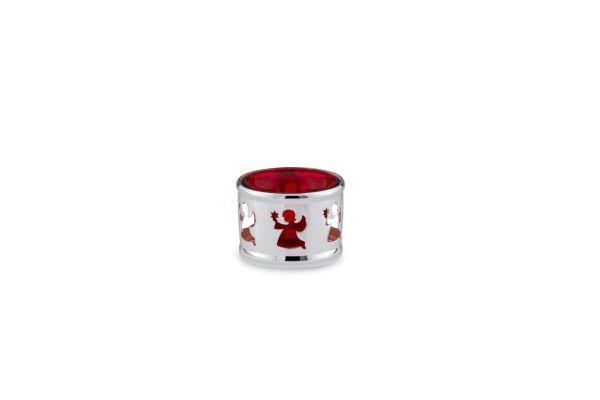 Teelichthalter Engel rotes Glas