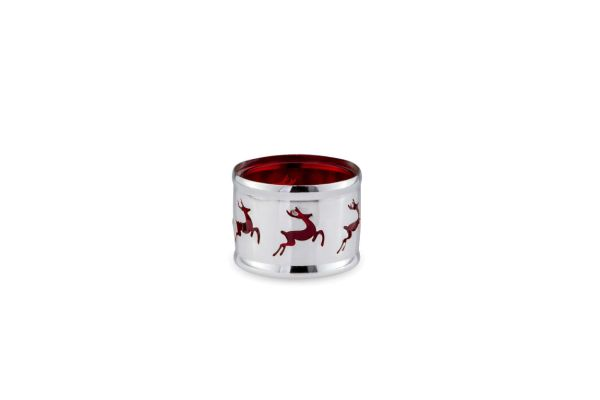Teelichthalter Rentier rotes Glas