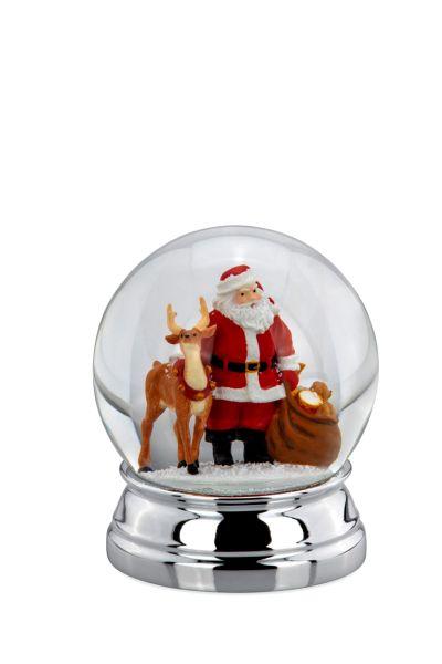 Schneekugel Weihnachtsmann/Rentier XL