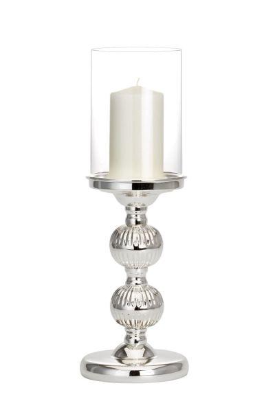 Windlicht / Kerzenhalter groß mit Kugelfuß Rillen