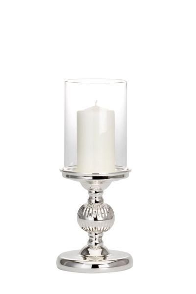 Windlicht / Kerzenhalter klein mit Kugelfuß Rillen