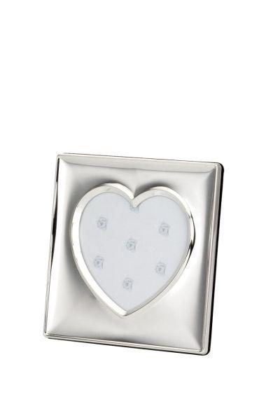 Fotorahmen quadratisch Herz-Ausschnitt glatt poliert 13,5x13,5