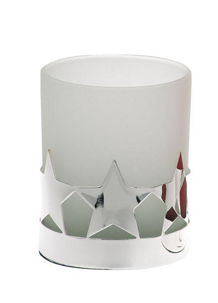 Teelichthalter Stern weißes Glas