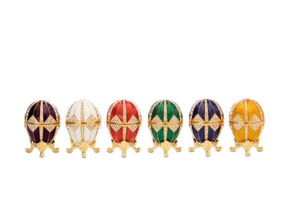 Eidosensatz 6-tlg. mittel Rot, Weiß, Gelb, Grün, Blau, Lila mit Emaille