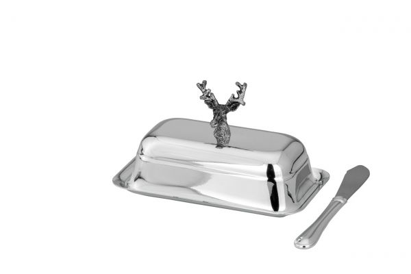 Butterdose Hirsch 1/4 Pfund inkl. Messer
