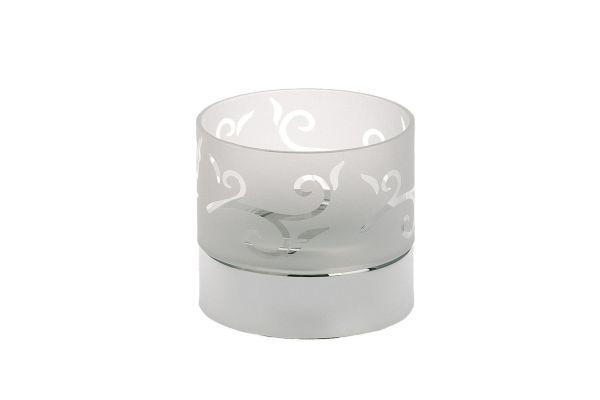 Teelichthalter weißes florales Glas