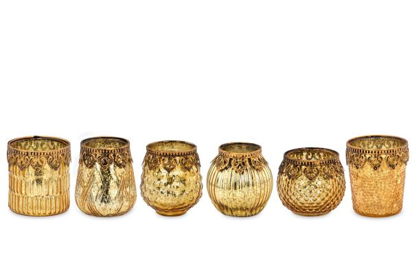 Teelichthalter gold Perlrand 6-tlg.