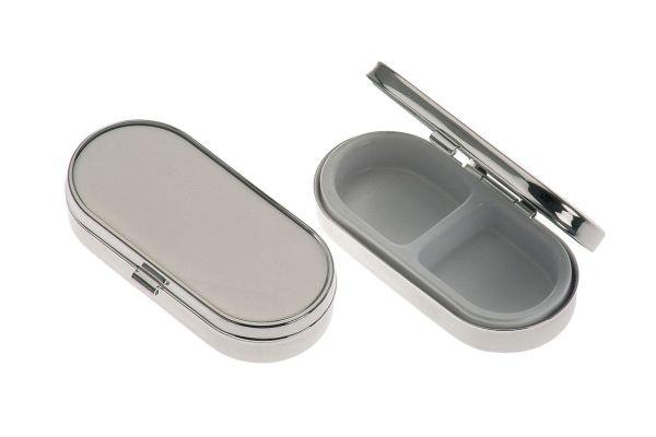 Pillendose 2-geteilt rechteckig glatt